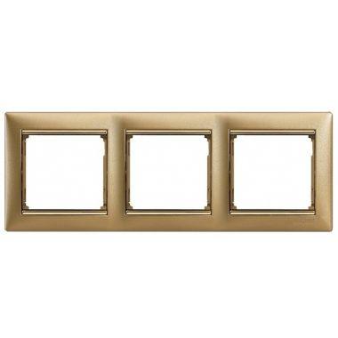 Рамка Valena 3-постовая матовое золото/золотой штрих Legrand