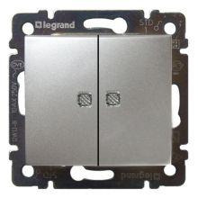 Выключатель Valena 2-клавишный, с подсветкой алюминий Legrand