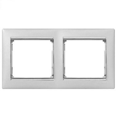 Рамка Valena 2-постовая алюминий/серебряный штрих Legrand