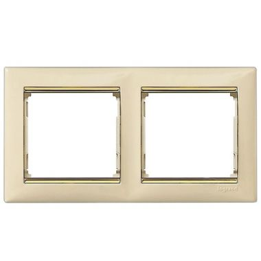 Рамка Valena 2-постовая слоновая кость/золотой штрих Legrand