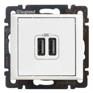 Розетка 2-ая USB зарядка 2400mA тип А-A Valena белая Legrand