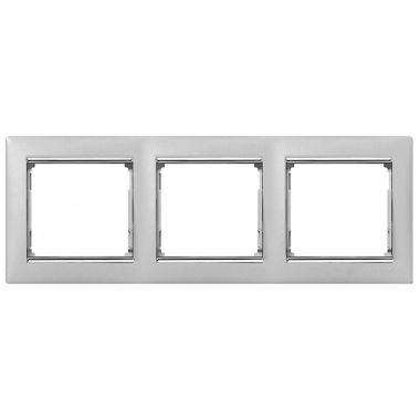Рамка Valena 3-постовая алюминий/серебряный штрих Legrand