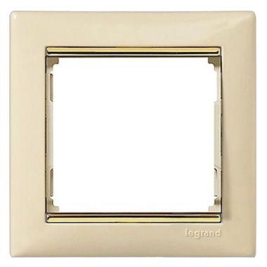 Рамка Valena 1-постовая слоновая кость/золотой штрих Legrand