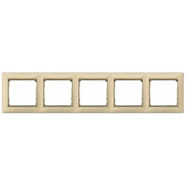 Рамка Valena 5-постовая слоновая кость/золотой штрих Legrand