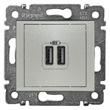 Розетка 2-ая USB зарядка 2400mA тип А-A Valena алюминий Legrand
