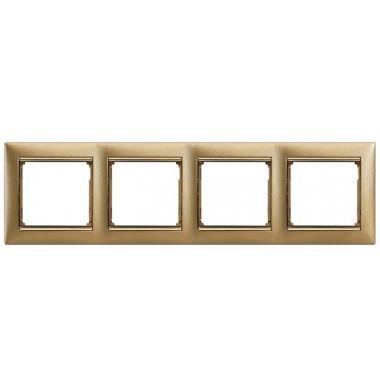 Рамка Valena 4-постовая матовое золото/золотой штрих Legrand
