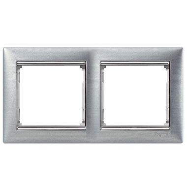 Рамка Valena 2-постовая матовый алюминий/серебряный штрих Legrand
