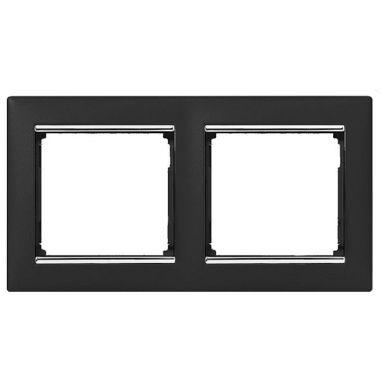 Рамка Valena 2-постовая ноктюрн/серебряный штрих Legrand
