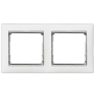 Рамка Valena 2-постовая белый/серебряный штрих Legrand