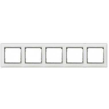 Рамка Valena 5-постовая белый/серебряный штрих Legrand