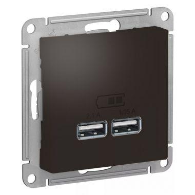 Зарядка USB  5В, 1 порт x 2,1 А, 2 порта х 1,05 А AtlasDesign, мокко Schneider Electric