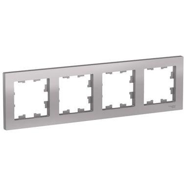 Рамка AtlasDesign 4-постовая универсальная, алюминий Schneider Electric