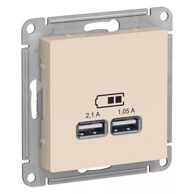 Зарядка USB  5В, 1 порт x 2,1 А, 2 порта х 1,05 А AtlasDesign, бежевый Schneider Electric