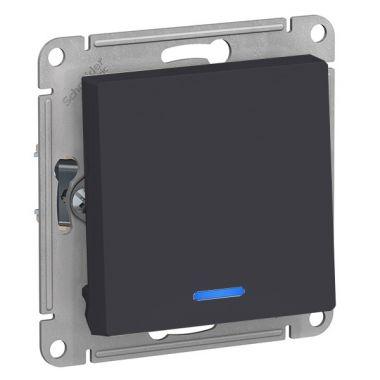 Выключатель 1-клавишный с подсветкой 10А AtlasDesign, карбон Schneider Electric