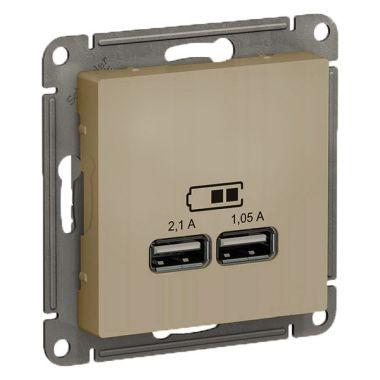 Зарядка USB  5В, 1 порт x 2,1 А, 2 порта х 1,05 А AtlasDesign, шампань Schneider Electric