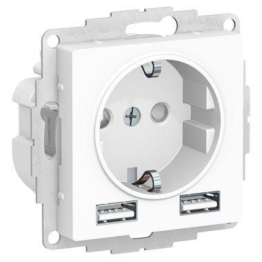 Зарядка розетка с заземлением 16А + USB A+A 5В/2,4А, 2х5В/1,2А AtlasDesign, белый Schneider Electric