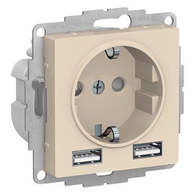 Зарядка розетка с заземлением 16А + USB A+A 5В/2,4А, 2х5В/1,2А AtlasDesign, бежевый Schneider Electric