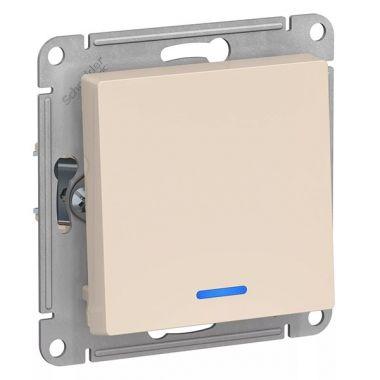 Выключатель 1-клавишный с подсветкой 10А механизм AtlasDesign, бежевый Schneider Electric