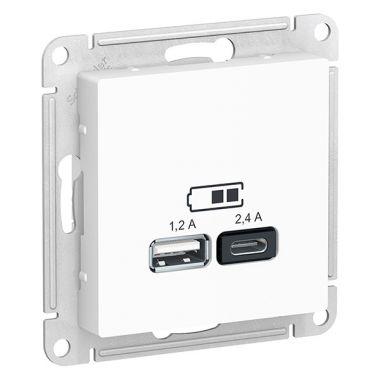 Зарядное устройство USB тип A+С 5В/2,4 А  2х5В/1,2 А, AtlasDesign, белый Schneider Electric