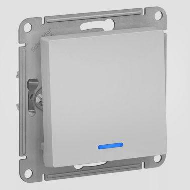 Выключатель 1-клавишный с подсветкой 10А AtlasDesign, алюминий Schneider Electric