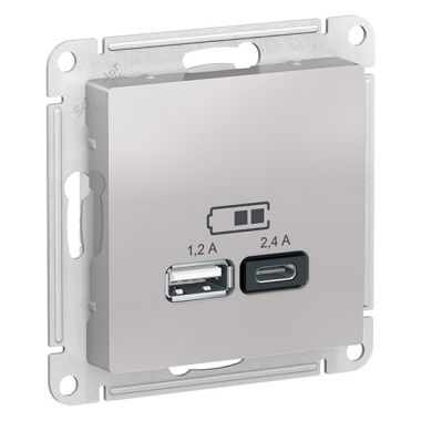 Зарядное устройство USB тип A+С 5В/2,4 А  2х5В/1,2 А, AtlasDesign, алюминий Schneider Electric