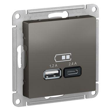 Зарядное устройство USB тип A+С 5В/2,4 А  2х5В/1,2 А, AtlasDesign, сталь Schneider Electric