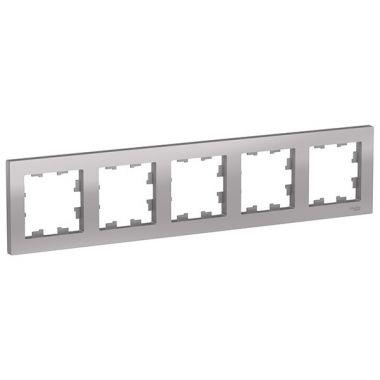 Рамка AtlasDesign 5-постовая универсальная, алюминий Schneider Electric