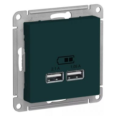Зарядка USB  5В, 1 порт x 2,1 А, 2 порта х 1,05 А AtlasDesign, изумруд Schneider Electric