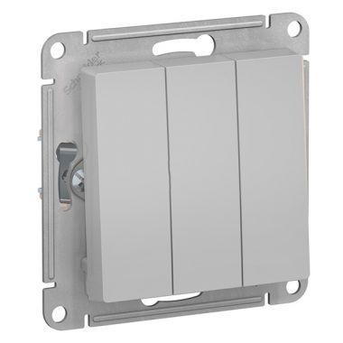 Выключатель 3-клавишный 10А AtlasDesign, алюминий Schneider Electric