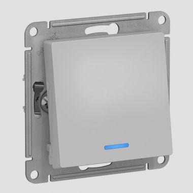 Переключатель 1-клавишный с подсветкой 10А AtlasDesign, алюминий Schneider Electric