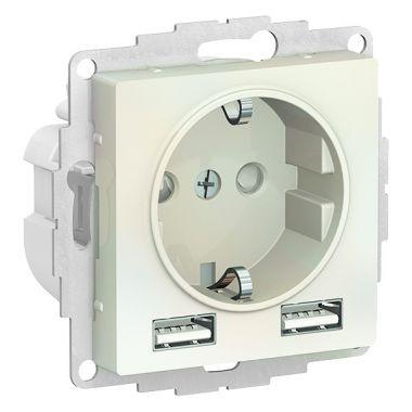 Зарядка розетка с заземлением 16А + USB A+A 5В/2,4А, 2х5В/1,2А AtlasDesign, жемчуг Schneider Electric