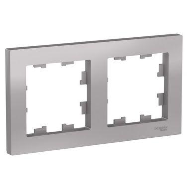 Рамка AtlasDesign 2-постовая универсальная, алюминий Schneider Electric