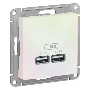 Зарядка USB  5В, 1 порт x 2,1 А, 2 порта х 1,05 А AtlasDesign, жемчуг Schneider Electric