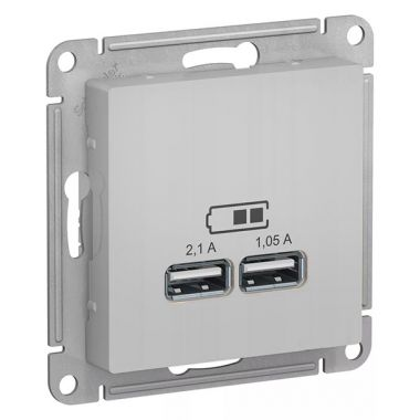 Зарядка USB  5В, 1 порт x 2,1 А, 2 порта х 1,05 А AtlasDesign, алюминий Schneider Electric