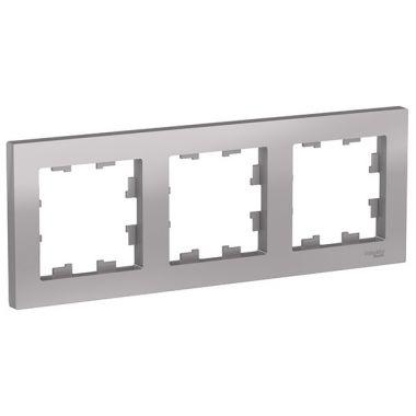Рамка AtlasDesign 3-постовая универсальная, алюминий Schneider Electric