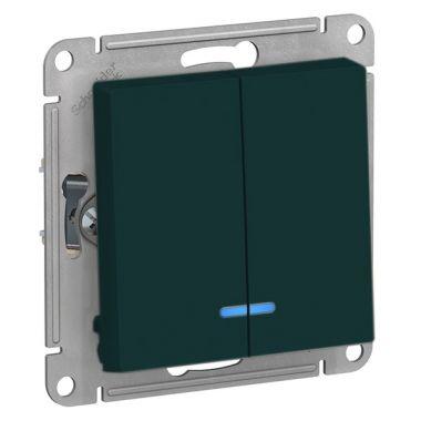 Выключатель 2-клавишный с подсветкой 10А AtlasDesign, изумруд Schneider Electric