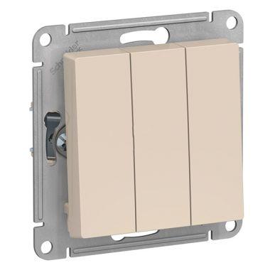 Выключатель 3-клавишный 10АХ механизм AtlasDesign, бежевый Schneider Electric