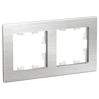 Рамка AtlasDesign Nature 2-постовая, металл серебро Schneider Electric