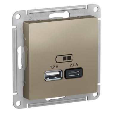 Зарядное устройство USB тип A+С 5В/2,4 А  2х5В/1,2 А, AtlasDesign, шампань Schneider Electric