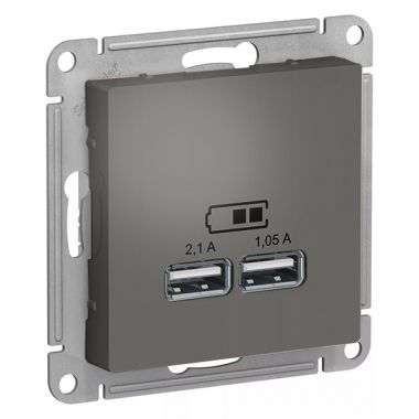 Зарядка USB  5В, 1 порт x 2,1 А, 2 порта х 1,05 А AtlasDesign, сталь Schneider Electric