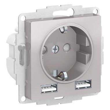 Зарядка розетка с заземлением 16А + USB A+A 5В/2,4А, 2х5В/1,2А AtlasDesign, алюминий Schneider Electric