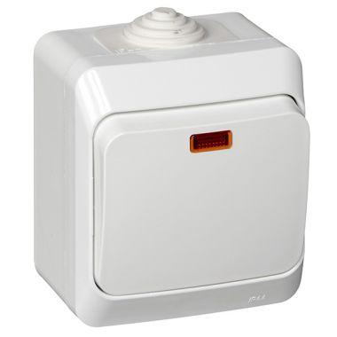 Выключатель Этюд 1-клавишный, с подсветкой, IP44, белый Schneider Electric