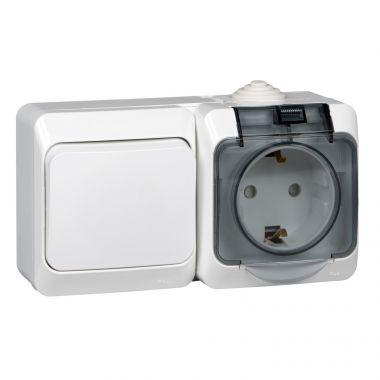 Блок Этюд выключатель 1-клавишный+розетка c заземлением, IP44, белый Schneider Electric