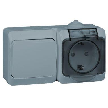 Блок Этюд переключатель 1-клавишный+розетка c заземлением, IP44, серый Schneider Electric