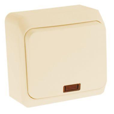 Выключатель Этюд кнопочный, с подсветкой, кремовый Schneider Electric