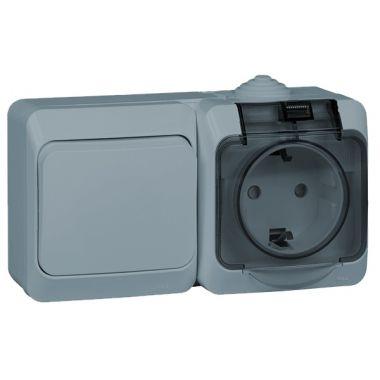Блок Этюд выключатель 1-клавишный+розетка c заземлением, IP44, серый Schneider Electric