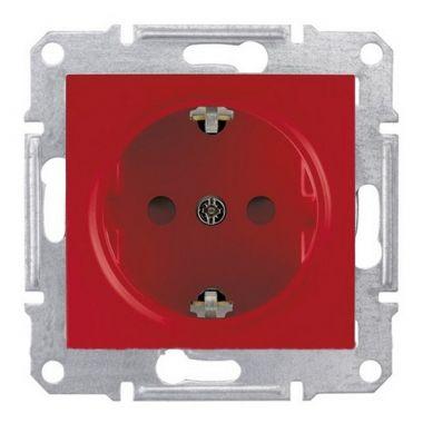 Розетка Sedna с заземлением, с защитными шторками, красная Schneider Electric