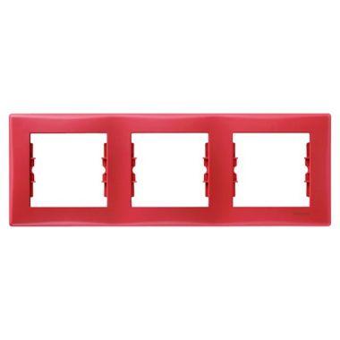 Рамка Sedna 3-постовая, горизонтальная, красная Schneider Electric
