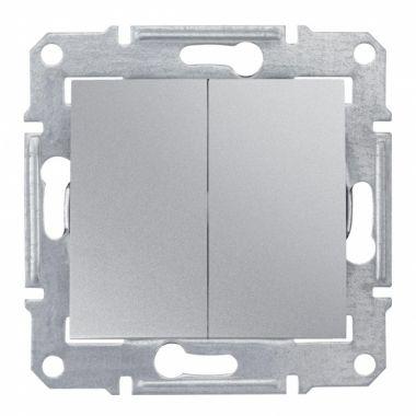 Переключатель Sedna 2-клавишный, алюминий Schneider Electric
