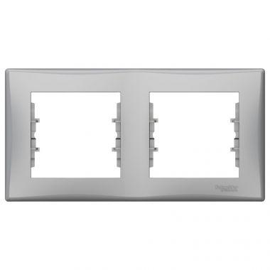 Рамка Sedna 2-постовая, горизонтальная, алюминий Schneider Electric